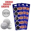 Кнопочная батарея SONY CR2032 CR2025 CR2016, литиевые аккумуляторы для часов, игрушек, компьютеров, калькуляторов, 15 шт./лот, 3 в