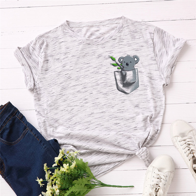 Ha32e174b2ed24243ab7dd3d3f2b1ad7aD - Women T-shirt Fashion Plus Size Cotton Top Cute Koala Print T shirt Female O-Neck Short Sleeve harajuku Tees feminina