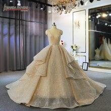 Vestido de novia de lujo color champán con rebordear completo con tren largo 100% foto de trabajo real