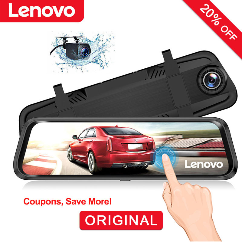 "Original Lenovo 10"" Dash Cam Rearview Mirror Camera Streaming Media Full-Screen Touching Dual Lens Night Vision Dashcam Car DVRs"