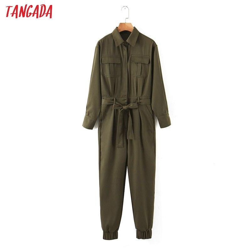 Tangada Women Amy Green Long Jumpsuit With Slash Long Sleeve Pocket Female Casual Jumpsuit SL240