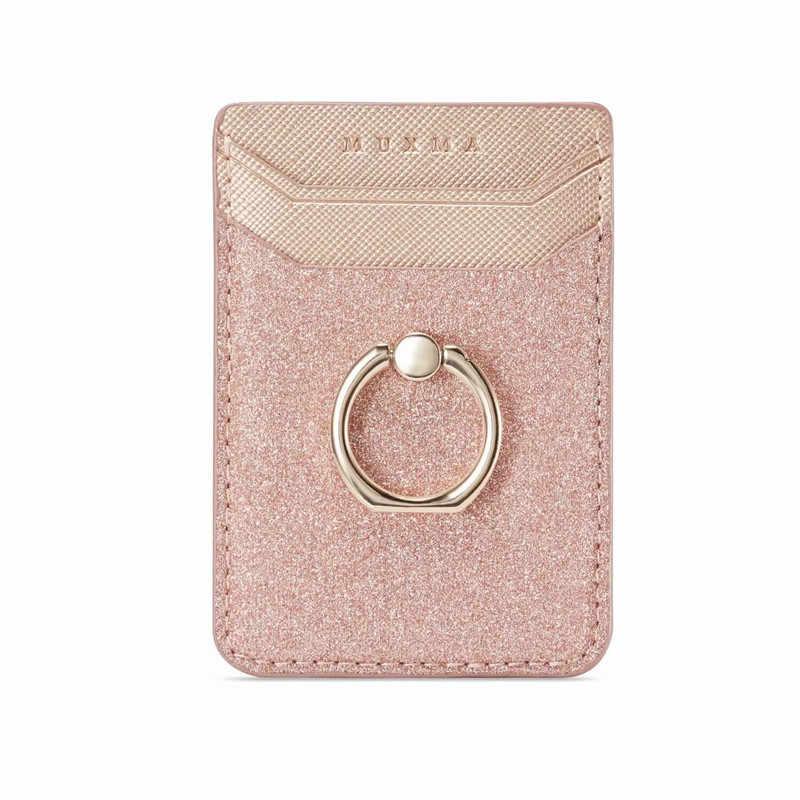 חמוד טלפון סלולרי Smartphone טבעת שקע מחזיק ארנק אשראי כרטיס כיס דבק מדבקת טלפון פאוץ תיק מקרה שחור עלה זהב