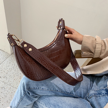 Retro Crocodile Pattern Crossbody Bags For Women 2020 Luxury Handbags Designer Saddle Lady Purses And