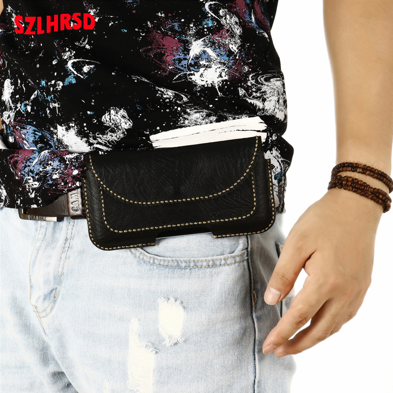 Insert card Belt Waist Bag business Genuine Leather Case For Huawei Honor Play 3e Cover for Honor Play 8A Phone bag Honor Play