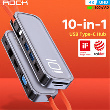 ROCK – HUB Multi USB Type C vers USB 3.0 HDMI, adaptateur VGA RJ45, Dock pour MacBook Pro Air USB-C Type C 3.1