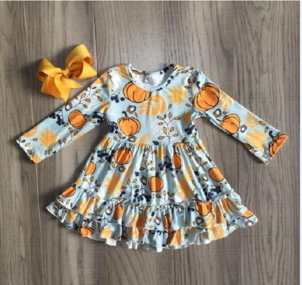 Children Girls Fall/autumn Dress Girls Halloween Dress With Pumpkin Print Girls Long Sleeve DRESS Cute Pumpkins Dress With Bow