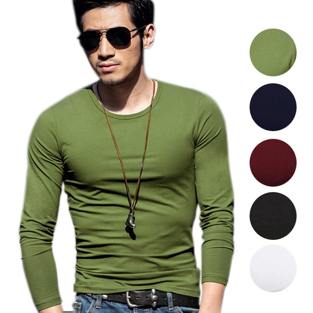 Pria O-neck Lengan Lengan Lengan Lengan Panjang T-Kemeja Kasual Solid Pullover T-shirt Dasar Musim Semi Musim Gugur Atasan Tee AIC88