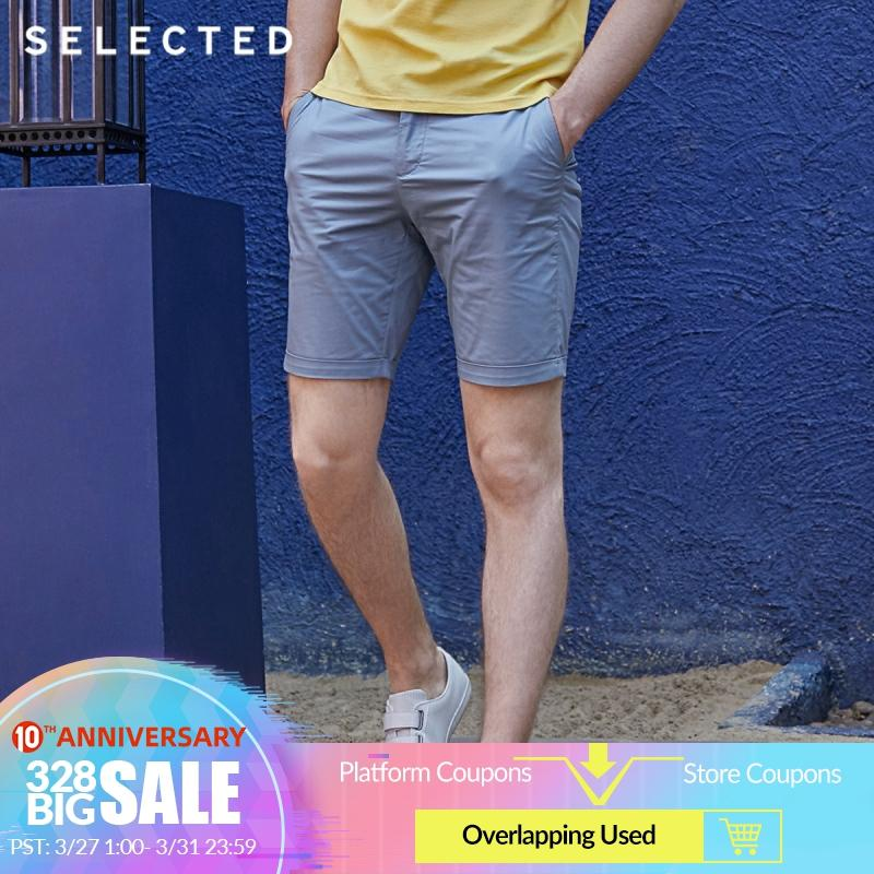 SELECTED Men's Summer Slight Stretch Cotton Pure Color Straight Fit Shorts S|4192SH520