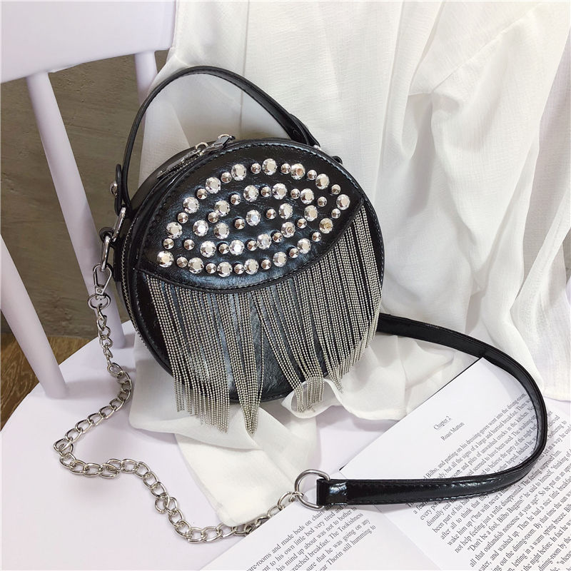 Women Shoulder Bags Small Round Bags Female Messenger Crossbody Bags For Women 2020 PU Leather Retro Chain Black Female Handbags