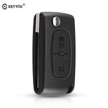 KEYYOU clé télécommande pliable à 2 boutons, pour voiture Peugeot 207, 307, 308, 3008, 407, 433MHz PCF7961 et HU83 Blade ID46 ASK CE0536