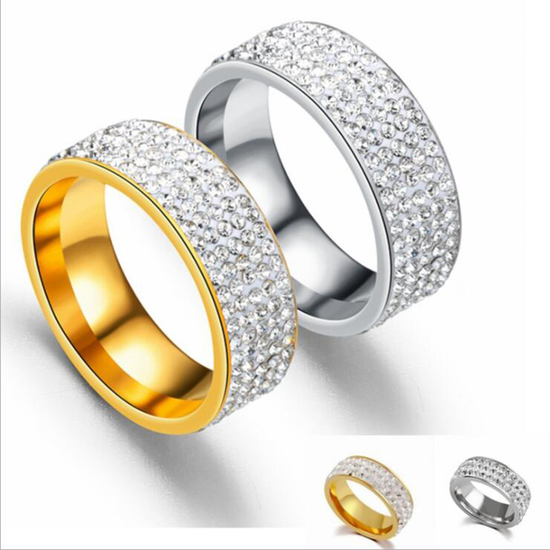 Couple Rings Fashion Five Rows Full of  Women Tension Setting