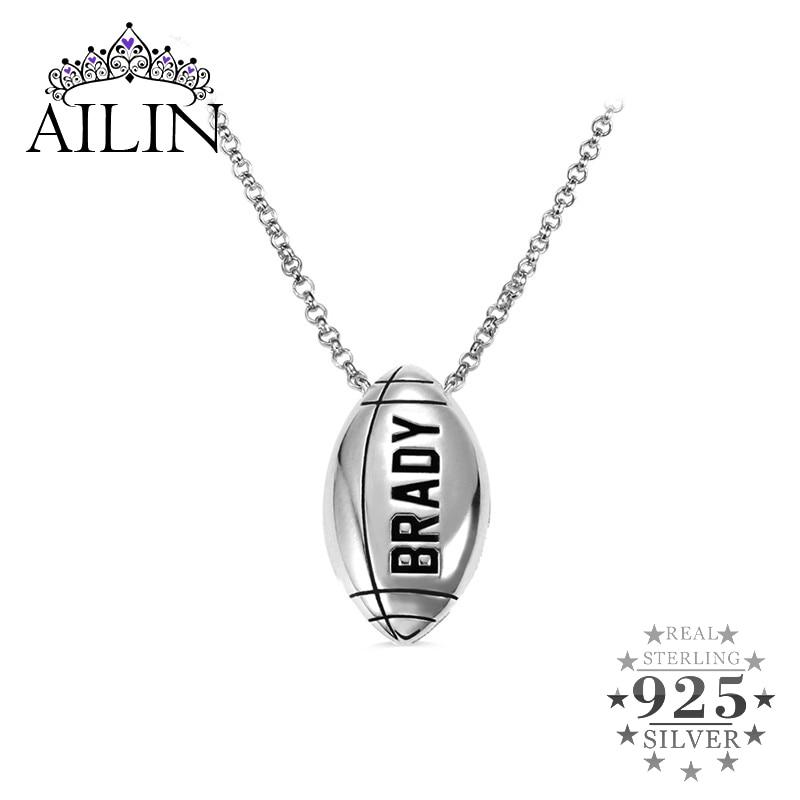 AILIN Football collier personnalisé nom collier avec numéro chanceux hommes bijoux personnalisés solide 925 argent Sport collier