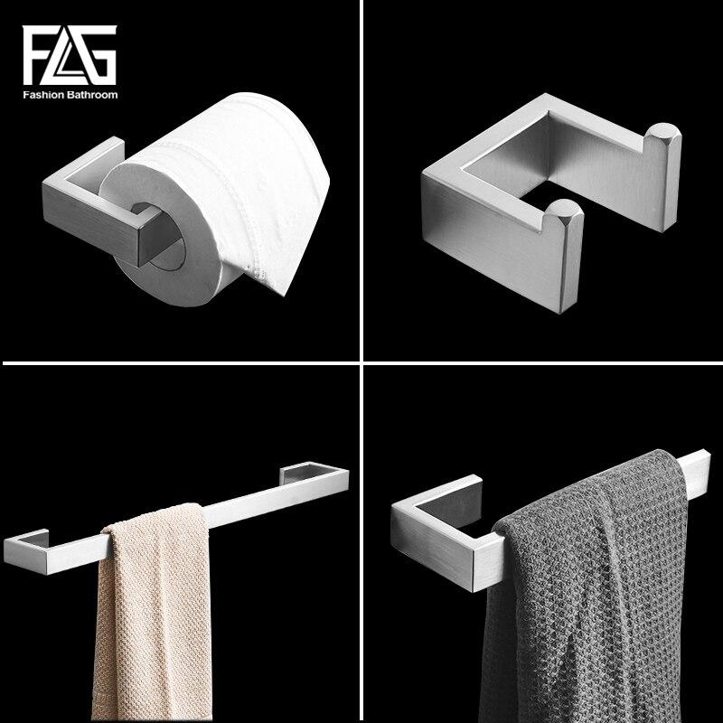 FLG 304 Conjuntos De Hardware De Banho de Aço Inoxidável Escovado Níquel Wall Mount Bar Toalha Robe gancho Suporte de Papel Acessórios Do Banheiro Set