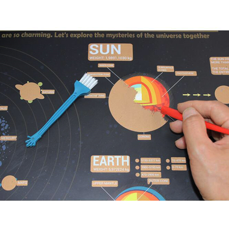 1 Pcs Scratch Map Cosmic Solar System Eight Planet Scratch Map Student Study 57 * 41 Cm Room Home Office Decorative Wall Sticker
