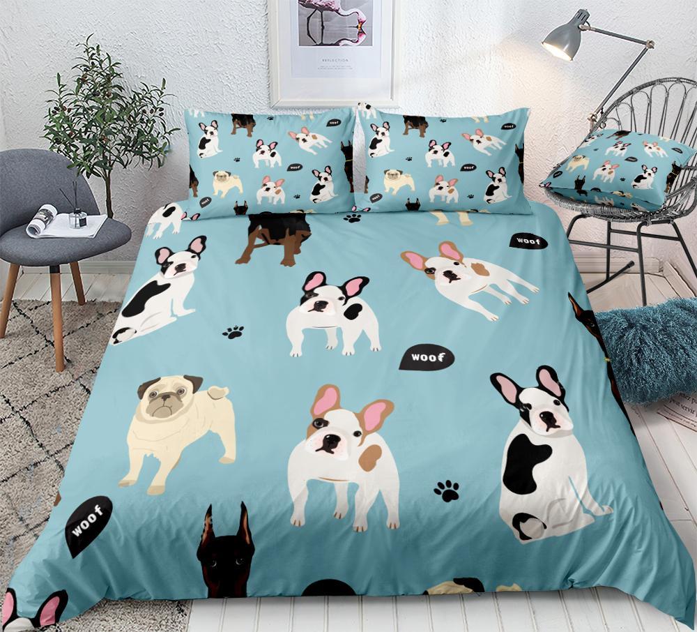 Dogs Duvet Cover Set Doberman French Bulldog Pug Quilt Cover Animal Queen Home Textiles Pet 3pcs Kids Teen Bed Set Blue Dropship