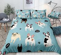 Dogs Duvet Cover Set Doberman French Bulldog Pug Quilt Cover Animal Queen Home Textiles Pet 3pcs Kids Teen Bed Set Blue Dropship