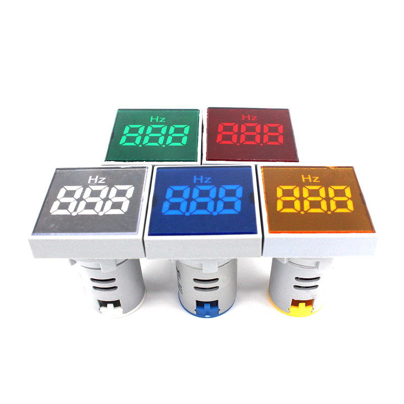 Square Panel LED AC Digital Display Frequency Table Gauge Hertz Meter Indicator Signal Lamp Lights Range 0-99Hz Warning Light