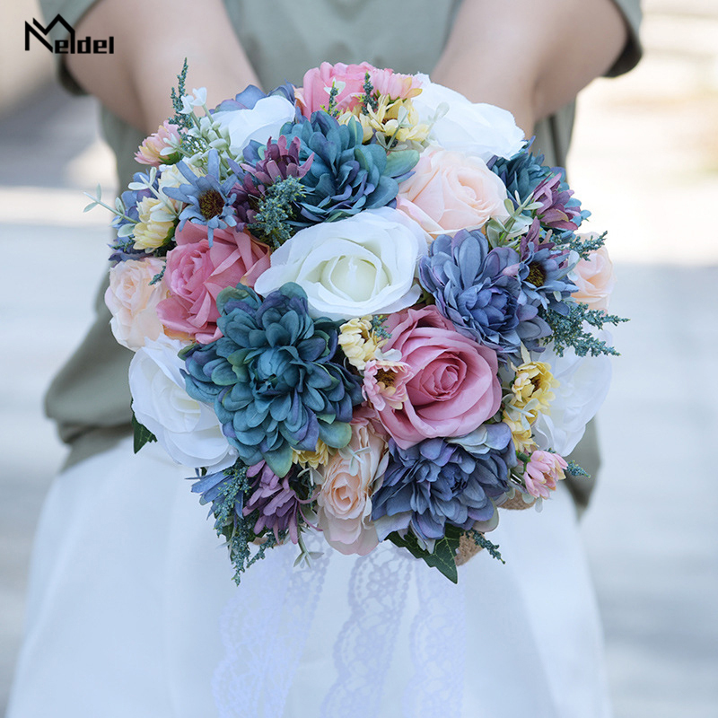 Meldel Wedding Bouquet Flower Pink Purple Blue Bohemian Bouquet Romantic Artificial Flower Silk Rose Dahlia DIY Bridal Bouquets