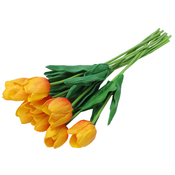 New 10pcs Tulip Flower Latex Real Touch for Wedding Bouquet Decor Best Quality Flowers (orange tulip)
