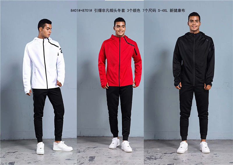 2018 Autumn And Winter Hooded Leisure Sports Suit Men's Cotton Two-Piece Set Customizable Long Sleeve Zipper Jacket Suits Men's