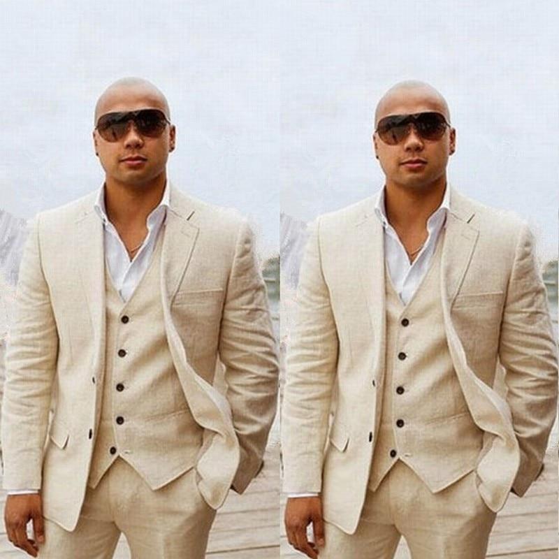 Custom Linen Summer Beach Wedding Groom Tuxedo Slim Fit Men Suits Handsome Best Man Blazers 3pcs Jacket Pant Vest Groomsmen Prom