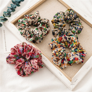 Floral Chiffon Hair Scrunchies Soft Elastic Hair Ties Women Ponytail Holder Vintage Ladies Hair Accessories Girls Headwear Gifts