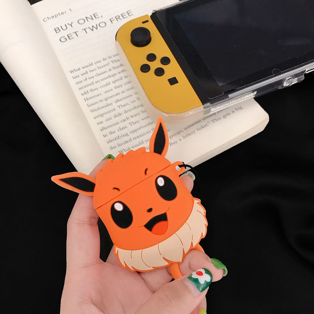 Cute Cartoon Cute Anime <font><b>Pikachue</b></font> Eevee Snorlax Bluetooth Headset For <font><b>AirPods</b></font> 1 2 Wireless Earphone <font><b>Case</b></font> Silicone Cover image