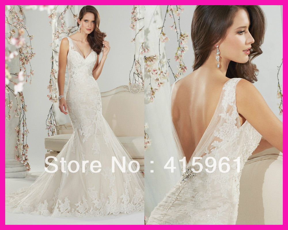 2014 New Design Vintage Backless Lace Mermaid Floor Length Bridal Wedding Dress Gown W2628