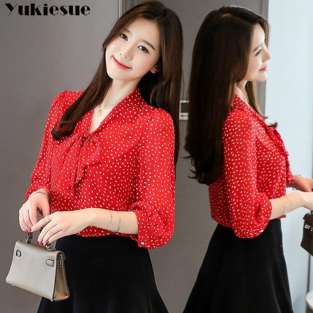 chiffon dot blouse femme shirt women blusas shirts 2019 summer long sleeve elegant ladies top womens blouses and tops Plus size 2