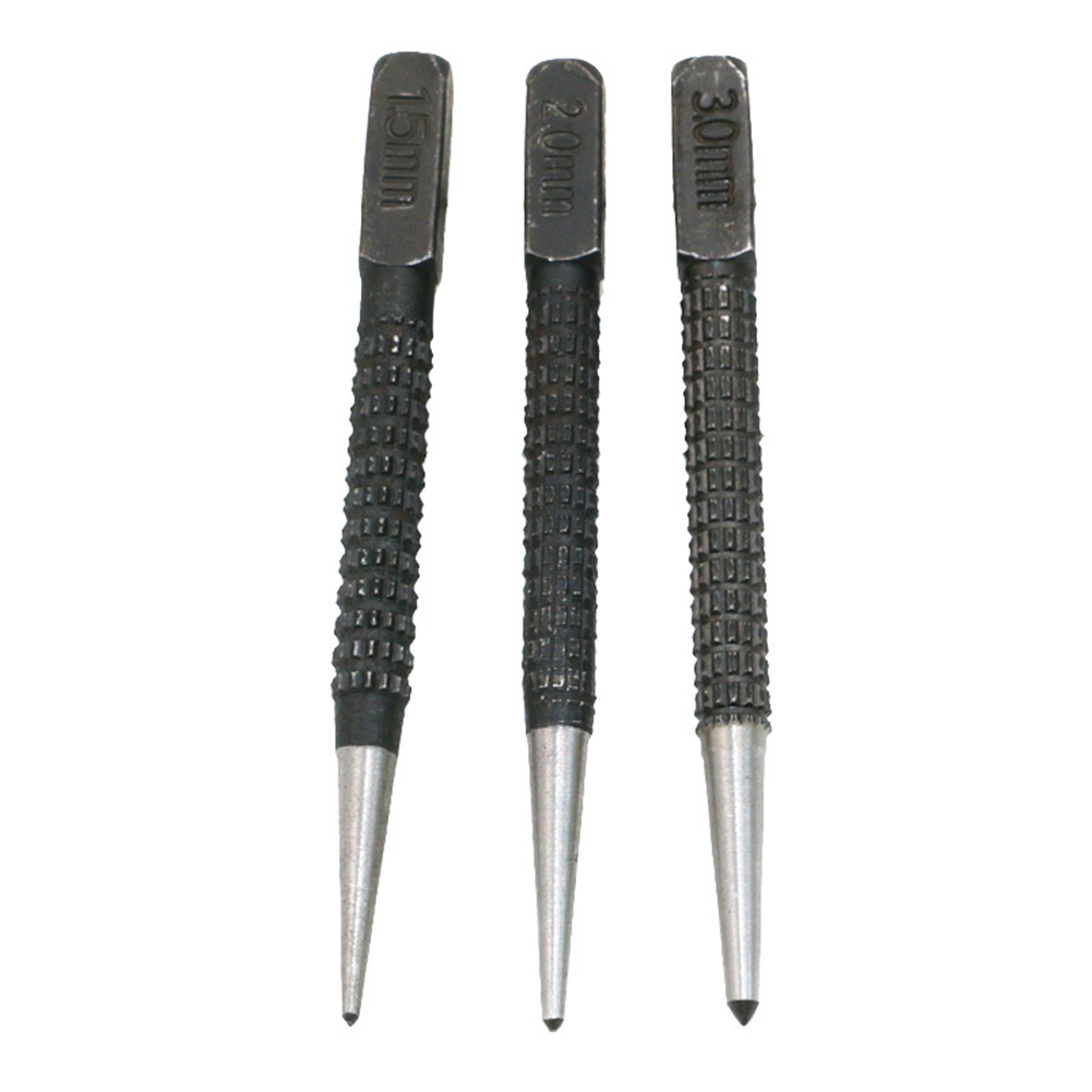 3pcs Metal Center Punch Set DIY Marking Tool Carbon Steel Non Slip Automatic Wood High Hardness Scribe