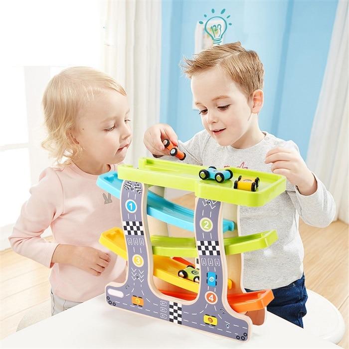 Baby Kids Slot Track Car Toys Wooden Ladder Gliding Wooden Slot Track Educational Model To Slide For Children Boy Gifts Spare