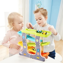 Baby Kids Slot Track Car Toys Wooden Ladder Gliding Educational Model To Slide for Children Boy Gifts Spare
