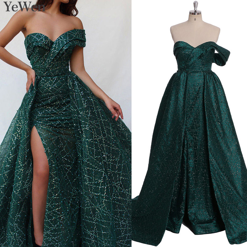 Dubai Green Luxury Sparkle Sexy Evening Dresses 2019 One Shoulder Sequined Pearls Evening Gowns Vestidos De Fiesta De Noche