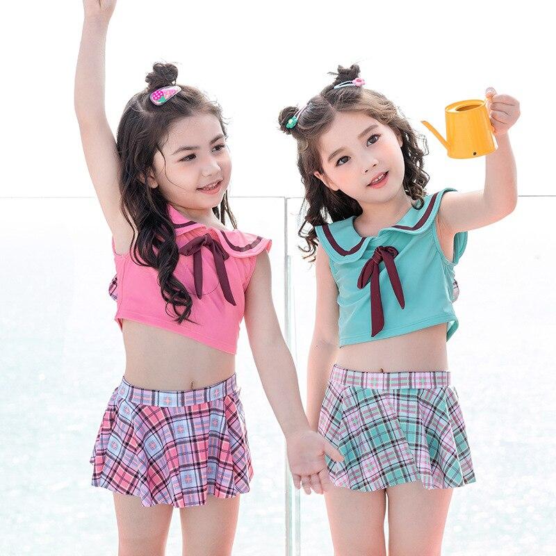 2020 New Style Korean-style Cute Plaid Rabbit Eared Children Split Skirt-Style Bathing Suit Children Baby Swimwear GIRL'S