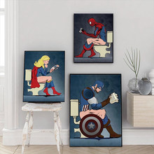 Süper kahraman karakter okuma dergisi tuvalet boyama Marvel karikatür tuval posterler baskılar banyo dekor duvar sanat resmi