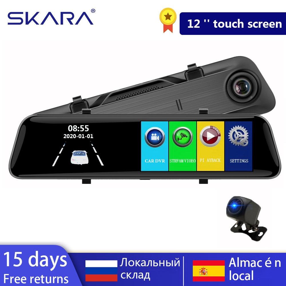 SKARA Dash camera Rearview mirror dash cam Dual lens Cameras Full HD 1080P 12 inch Video recorder Touch screen Night vision dvr