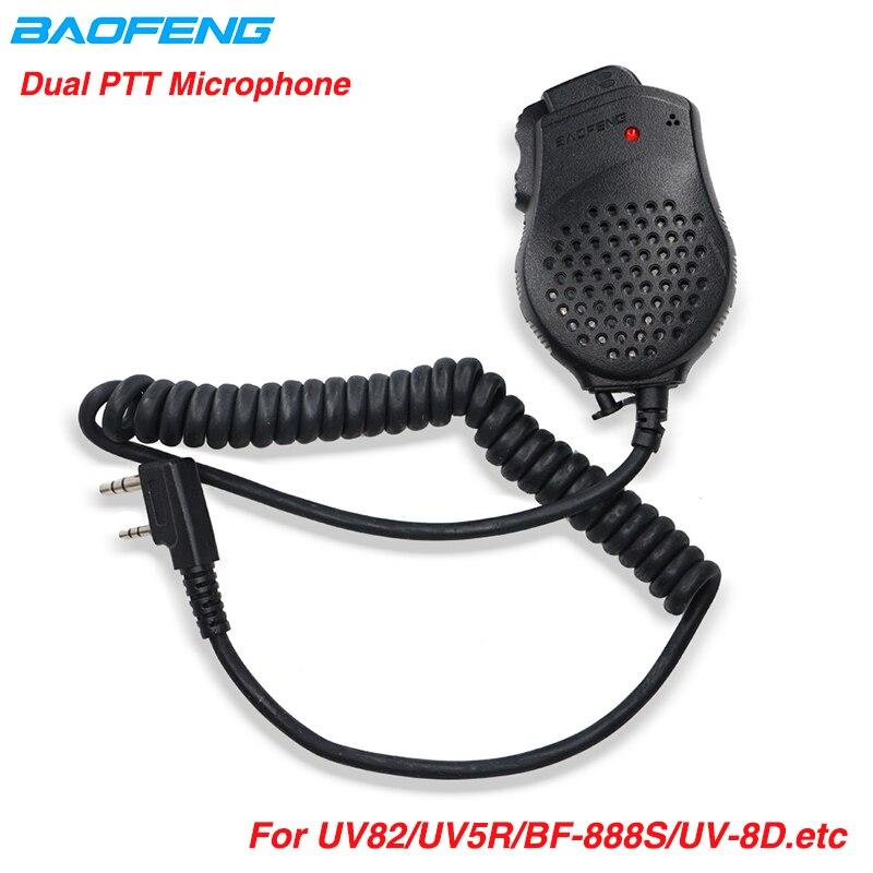 2PCS Original Baofeng UV 82 Dual PTT  Speaker Mic Microphone For Walkie Talkie UV82 UV-H9 BF-888S UV-5R Pro Radio Accessories