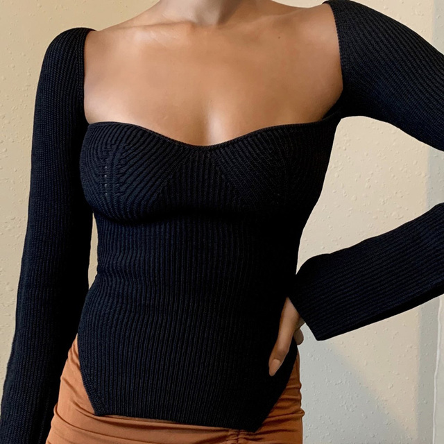 Square Collar Long Sleeve Woman Sweaters Knitted Pullover Women Spring Autumn Sweater Winter Tops For Women Black White Jumper 4