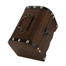 1 hucha de madera caja de dinero segura caja de Ahorro de Madera tallada a mano Vintage Retro niño efectivo estuche de almacenamiento de monedas