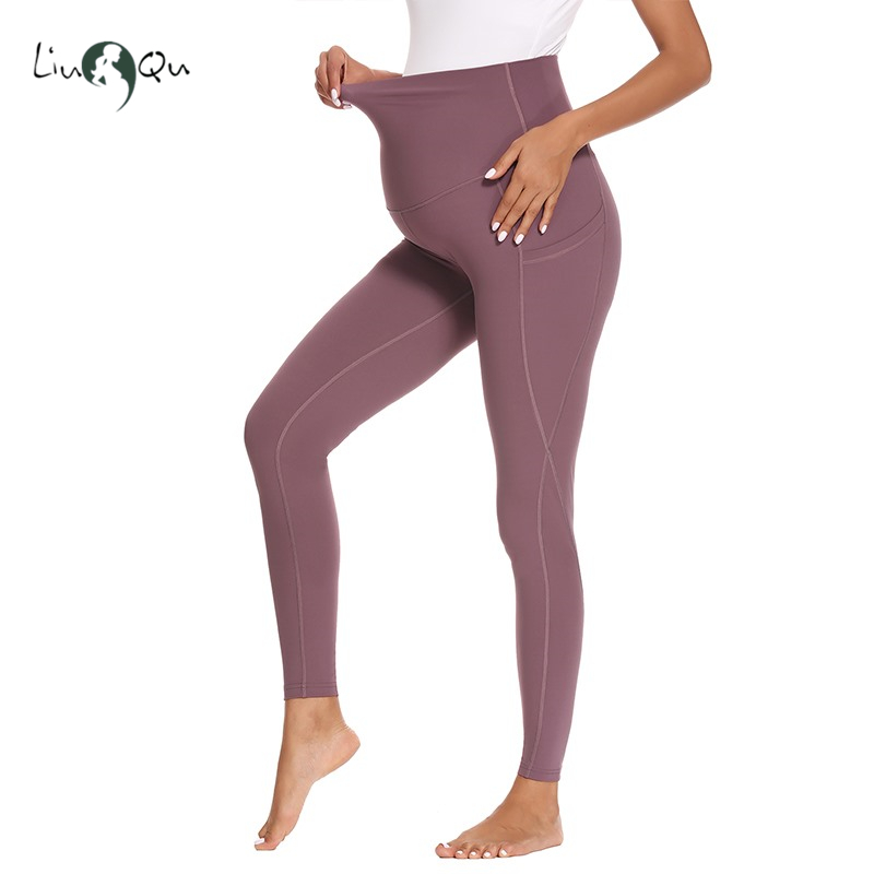 Clothing Leggings Workout-Pants Pregnancy-Mama Maternity Womens for with Pockets High-Waisted