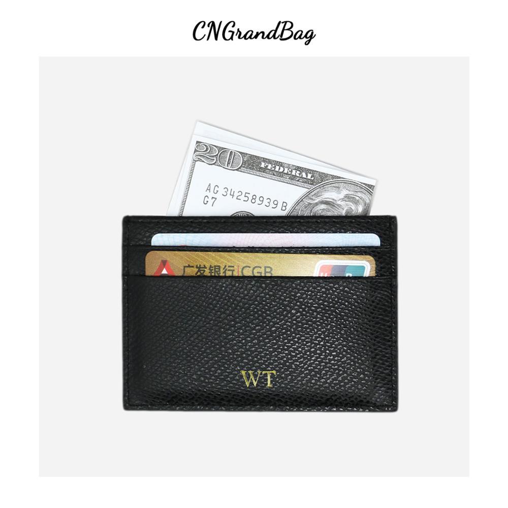 Кожаный держатель для карт индивидуальные инициалы 100% для мужчин и женщин, модный однотонный держатель для кредитных карт, удостоверения л...