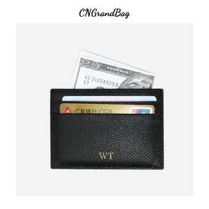 Custom Initials 100% Leather Card Holder For Men Women Solid Fashion Credit Card ID Card Holder Male Wallet Coin Purse Pouch