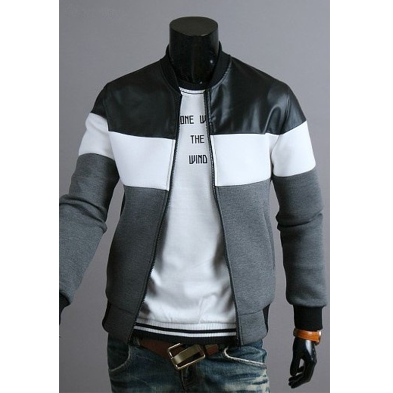 Men Sports Casual Wear Zipper COPINE Fashion Tide Jacquard Hoodies Fleece Jacket Fall Sweatshirts Autumn Winter Coat Gray+white