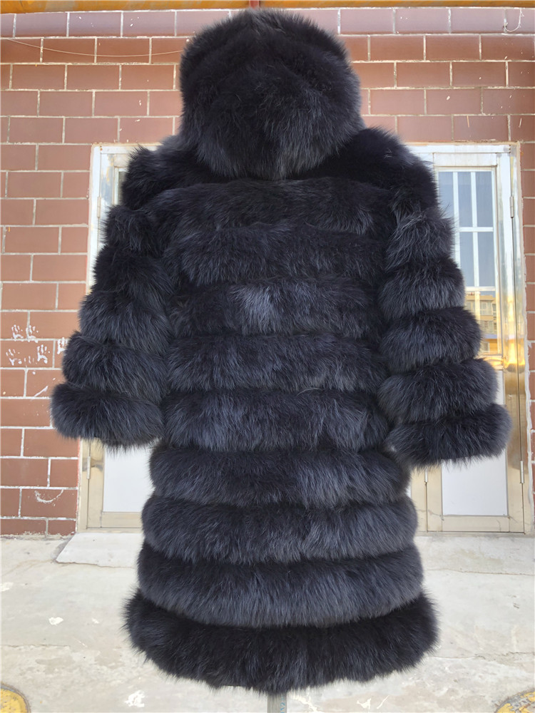 100% Natural Real Fox Fur Coat Women Winter Genuine Vest Waistcoat Thick Warm Long Jacket With Sleeve Outwear Overcoat plus size 95