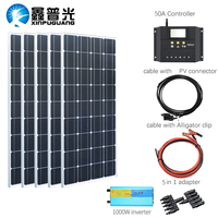 XINPUGUANG 100w solar panel 500w Solpanel kits system charge with 1000w inverter for 12v or 24v battery for home Car industry