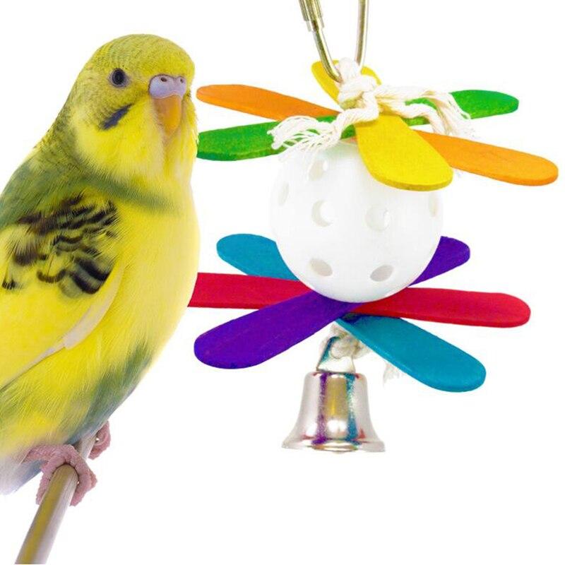 Птица жевательная игрушка для попугаев пластиковый шар цветная деревянная Тянущая струна Птица Попугай Игрушка с колокольчиком натуральная деревянная трава жевательная игрушка для укуса - Цвет: 2014253