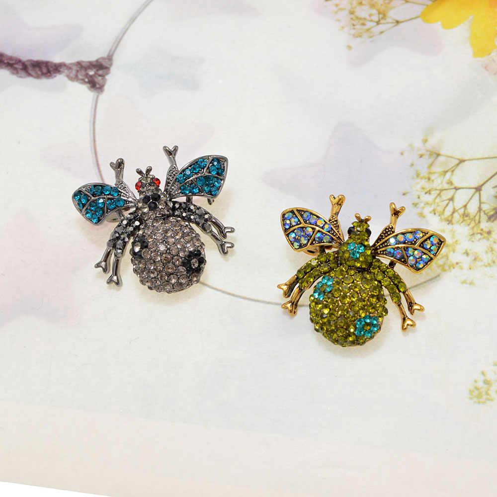 Cindy Xiang Berlian Imitasi Lebah Bros untuk Wanita Warna-warni Kecil Bunga Pin Serangga Bros Elegan Fashion Perhiasan 2 Warna Pilih