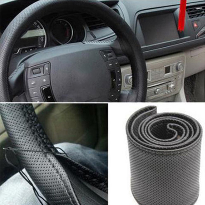 Braid On Steering Wheel Car Steering Wheel Cover With Needles and Thread Artificial leather Diameter 38cm Steering cover couvre