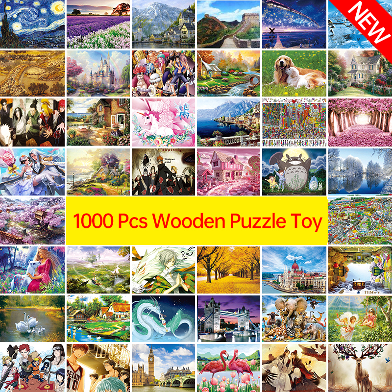 New ! 1000 Pcs Adult Puzzle Kids Jigsaw Landscape Puzzles Educational Toys For Children Animation Pairing Puzzles Gift D208