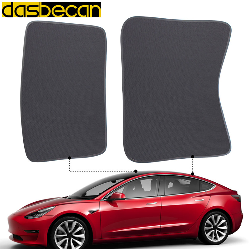 Dasbecan Auto Car Sunshade Sunroof Tesla Model 3 Windshield Shade Front Rear SunShade For Tesla Accessories Glass Roof Sunshade